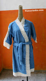 Blue and beige cotton bathrobe with lace|روب دانتيل للحمام ازرق وبيج