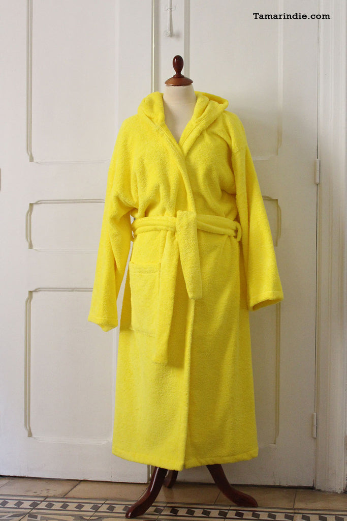 Thick Yellow Hooded Bathrobe for Grownups or Kids ... 7e487adb2