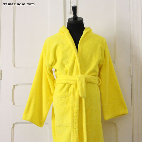 ... Thick Yellow Hooded Bathrobe for Grownups or Kids 6840742fd
