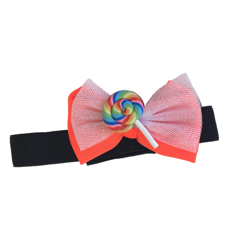 Orange Lollipop Bow Headband