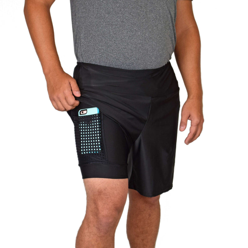 Men's Athletic Shorts - Black SUV (Long)