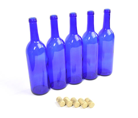 Set of 5 Cobalt Blue 750 ml Wine Bottles and Corks