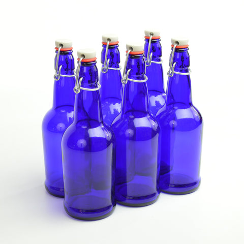16 oz. cobalt blue flip-top bottles