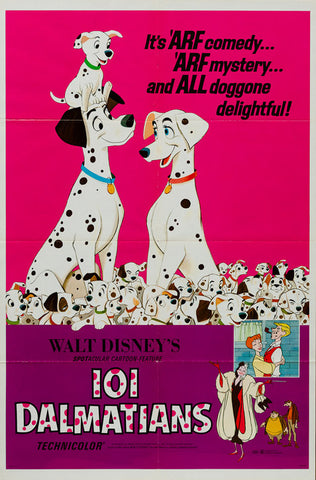 101 Dalmatians R1969 original vintage US 1 sheet film movie poster