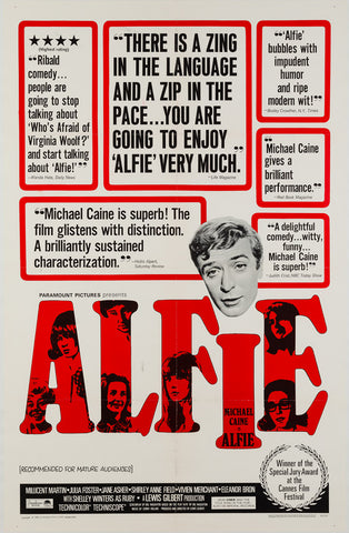 Alfie 1966 original vintage US 1 sheet film movie poster