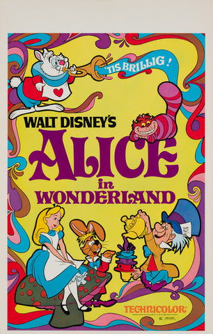 Alice in Wonderland R1970s US Window Card Film Movie Poster