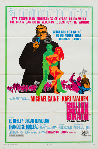Billion Dollar Brain 1968 original vintage US 1 sheet style B film movie poster