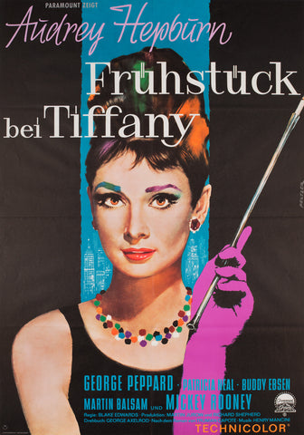 Breakfast at Tiffany's 1962 German A1 Film Poster, Peltzer