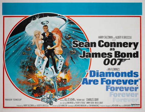 Diamonds Are Forever 1971 UK Quad Film Movie Poster McGinnis James Bond