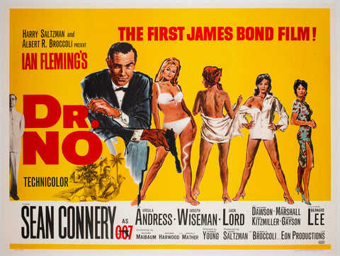 Dr No 1962 UK Quad Film Poster, Mitchell Hooks