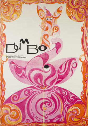 Dumbo 1971 Czech A1 Film Movie Poster, Disney