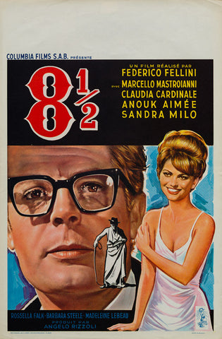 Fellini's 8 1/2 1963 original vintage Belgian film movie poster