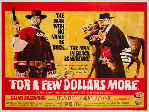Original 1967 For a Few Dollars More UK Quad film movie poster