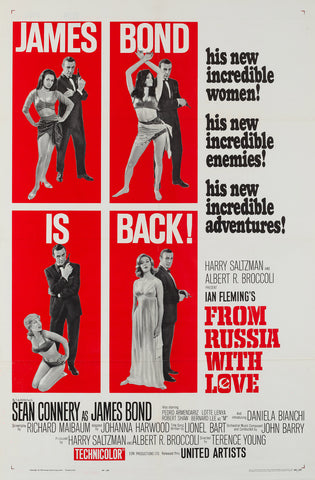 From Russia With Love 1963 US 1 Sheet Style B Film Poster, Chasman