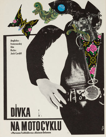 Girl on a Motorcycle 1969 original Czech film movie poster