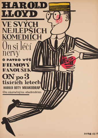 Harold Lloyd's World of Comedy 1963 Czech A1 Film Poster, Duda