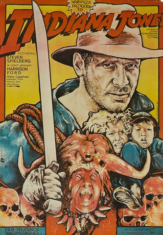 Indiana Jones and the Temple of Doom 1985 original Polish film movie poster