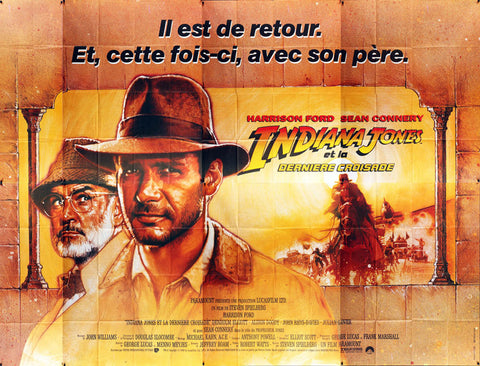 Indiana Jones and the Last Crusade 1989 French 8 Sheet Film Poster, Struzan