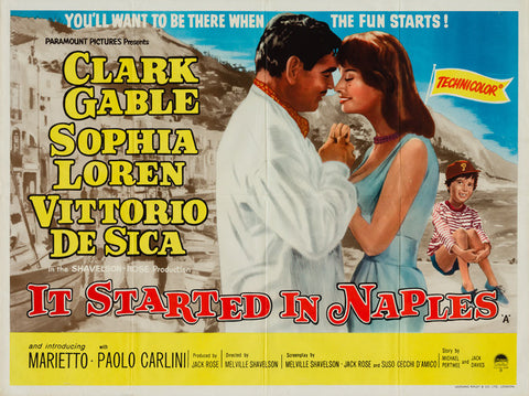 It Started In Naples 1960 original vintage UK quad film movie poster Clark Gable Sophia Loren