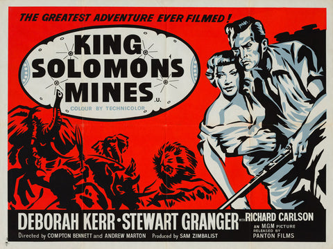 King Solomon's Mines 1950 original vintage UK quad film movie poster