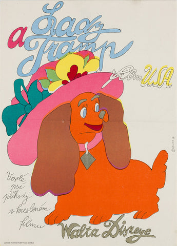 Lady and the Tramp 1974 Czech A3 Film Poster, Duda