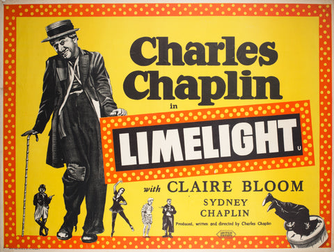 Limelight 1950s UK Quad Charles Chaplin Film Poster
