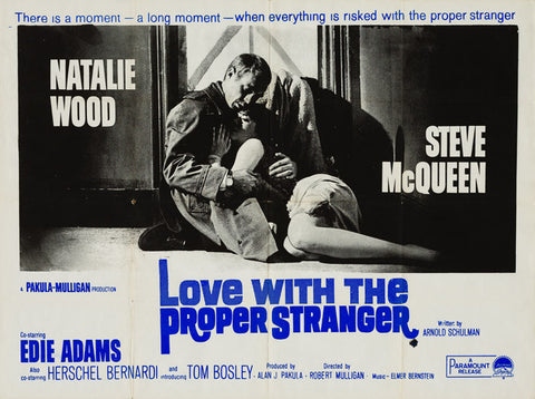 Love With The Proper Stranger 1963 original vintage UK quad film movie poster starring Steve McQueen and Natalie Wood