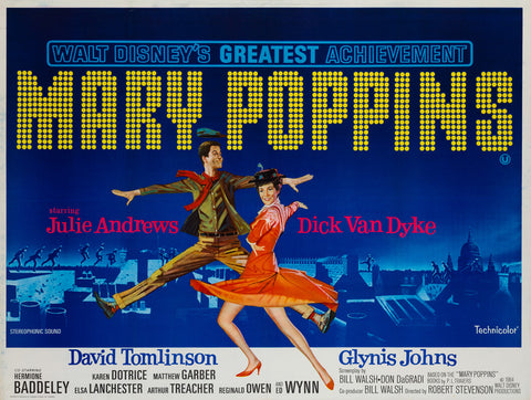 Mary Poppins 1964 UK Quad original film movie poster