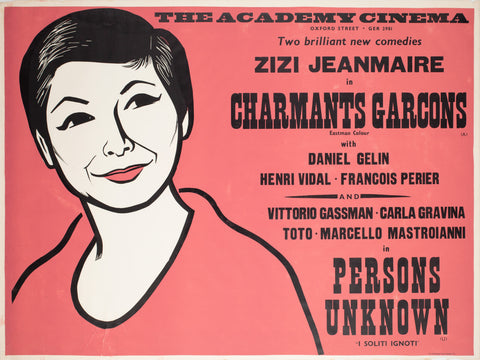 Charmants Garcons/Persons Unknown 1959 Academy Cinema UK Quad Film Poster, Strausfeld