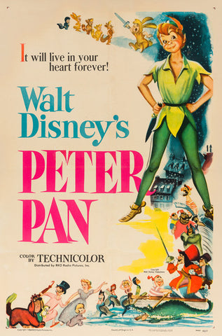 Peter Pan original film movie poster 1953 Disney