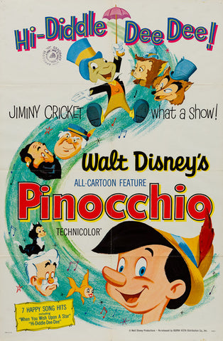 Pinocchio 1940 R1962 original Disney US 1 sheet film movie poster