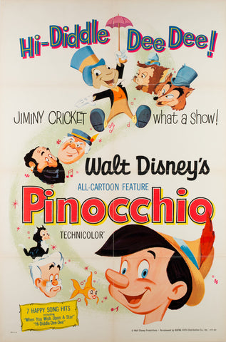 Pinocchio R1971 US 1 Sheet Film Movie Poster Disney
