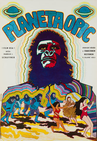 Planet of the Apes 1970 Czech A1 original film movie poster