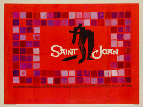 Saint Joan 1957 UK Quad original film movie poster Saul Bass
