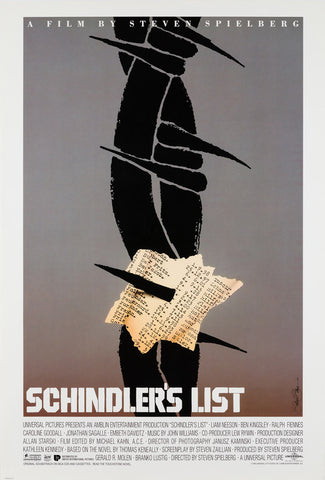 Schindler's List 1993 Saul Bass original film movie poster