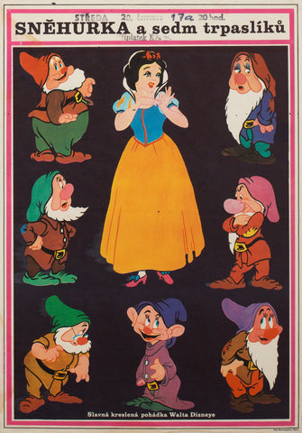 Snow White and the Seven Dwarfs R1970 Czech A3 Film Poster