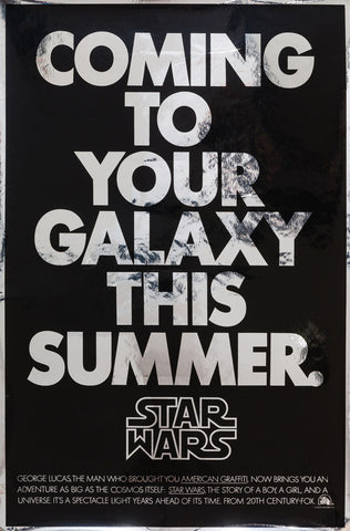 Star Wars 1977 US 1 Sheet Advance Silver Mylar original film movie poster