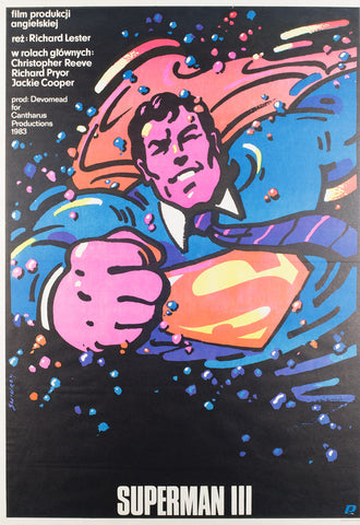 Superman3 1985 Polish B1 original film movie poster