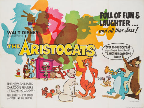 Original 1970 The Aristocats UK Quad film  movie poster