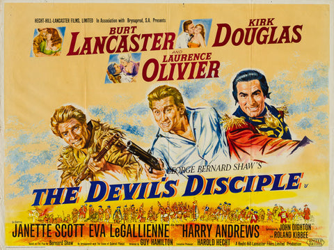 The Devil's Disciple 1959 original vintage UK quad film movie poster - Burt Lancaster, Kirk Douglas and Laurence Olivier