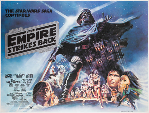 The Empire Strikes Back 1980 UK Quad Black Title Style Film Poster, Jung