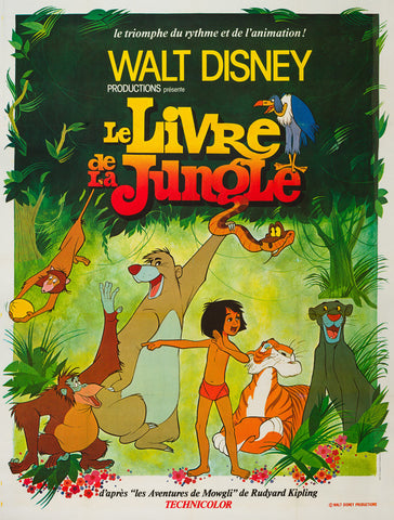 Original 1970s French Grande The Jungle Book film movie poster