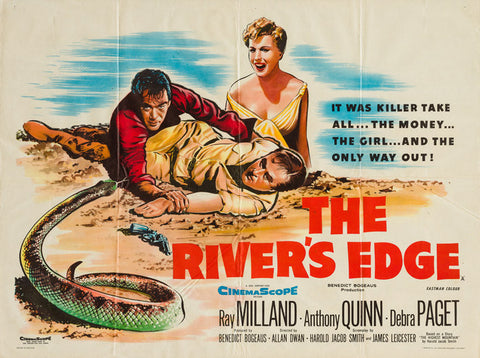 The River's Edge 1957 original vintage film UK quad movie poster - Ray Milland, Anthony Quinn
