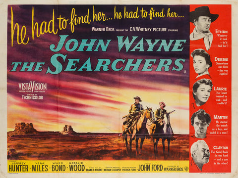 The Searchers 1956 UK Quad starring John Wayne