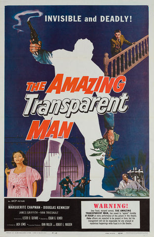 The Amazing Transparent Man 1959 original vintage US 1 sheet film movie poster