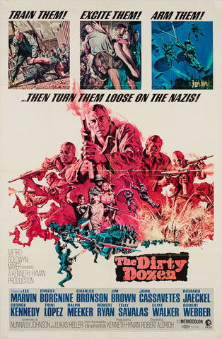 The Dirty Dozen 1967 original vintage linen backed US 1 sheet style A film movie poster