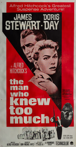 The Man Who Knew Too Much 1956 R1963 original vintage US 3 sheet linen backed film movie poster