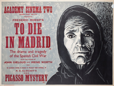 To Die in Madrid 1967 Academy Cinema UK Quad Film Poster, Strausfeld