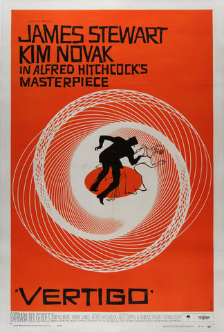 Vertigo 1958 US 1 Sheet Film Poster, Bass