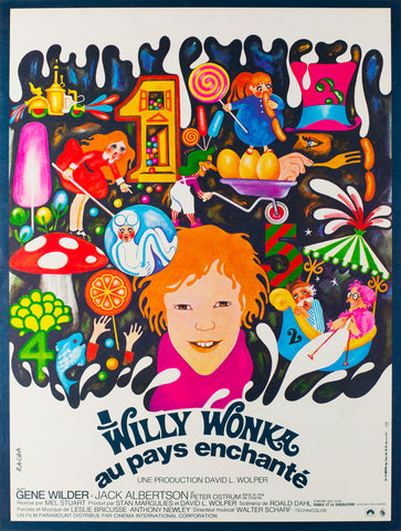 Original Willy Wonka and the Chocolate Factory 1971 French Petite film movie poster